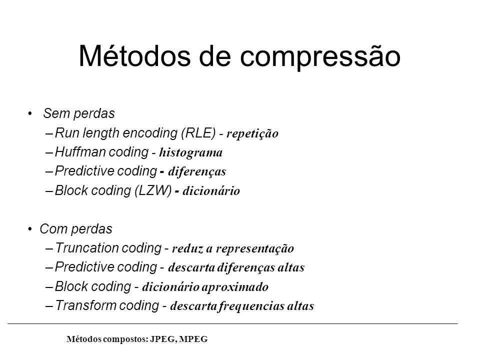 Métodos de compressão Sem perdas –Run length encoding (RLE) - repetição –Huffman coding - histograma –Predictive coding - diferenças –Block coding (LZ