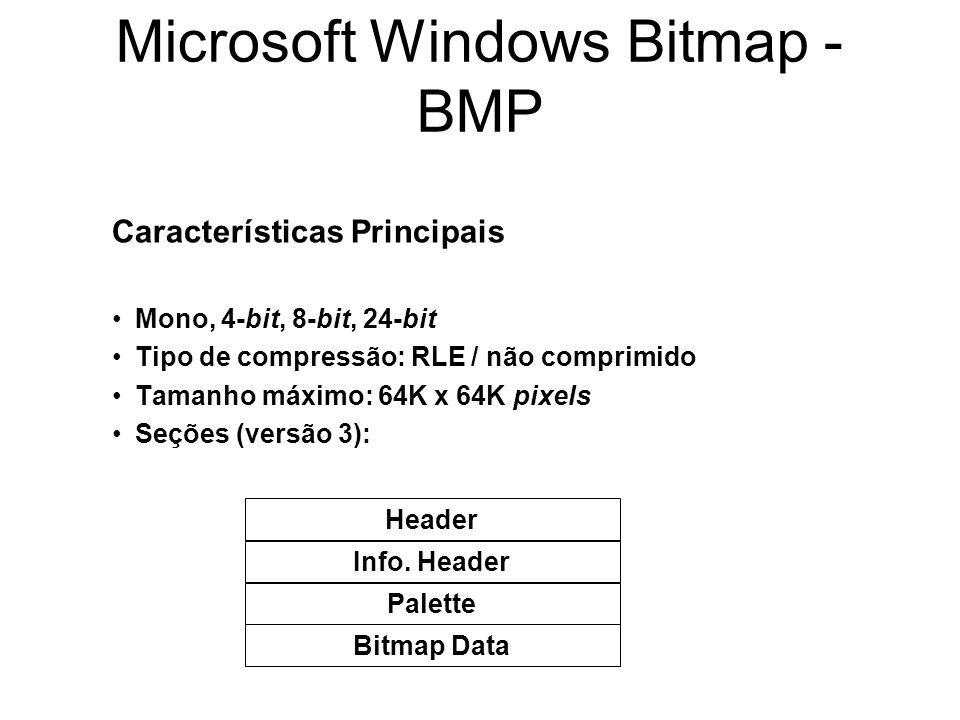 Microsoft Windows Bitmap - BMP Características Principais Mono, 4-bit, 8-bit, 24-bit Tipo de compressão: RLE / não comprimido Tamanho máximo: 64K x 64