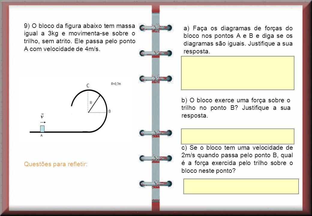 9) O bloco da figura abaixo tem massa igual a 3kg e movimenta-se sobre o trilho, sem atrito.