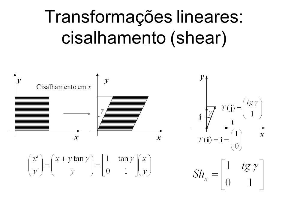Transformações lineares: cisalhamento (shear) Cisalhamento em x x x yy x y i j