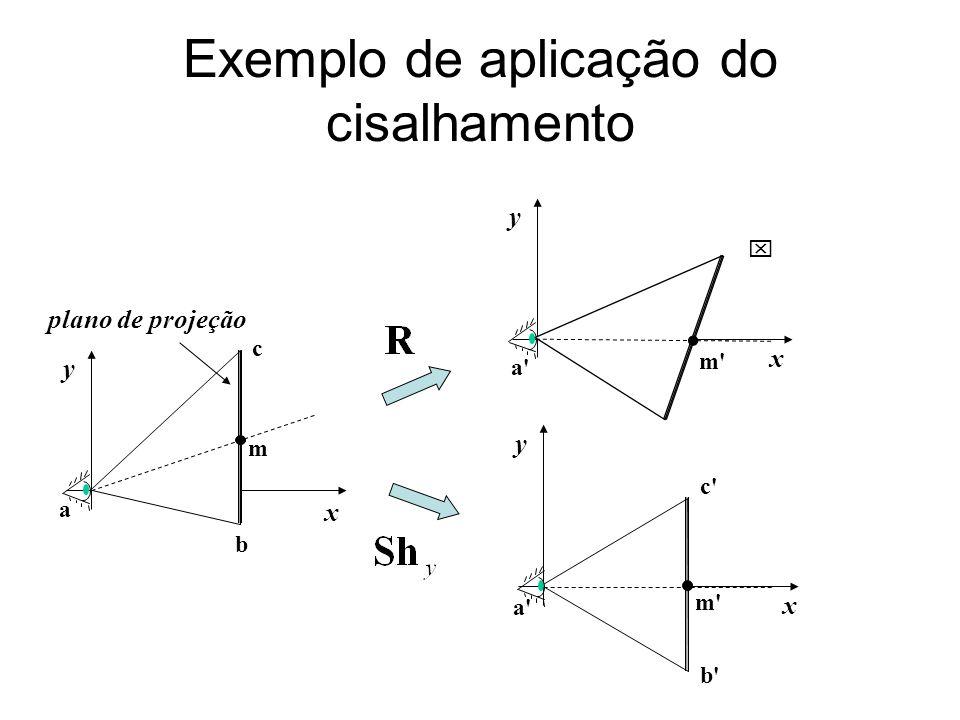 Exemplo de aplicação do cisalhamento x y a b c plano de projeção m x y a' m' x y c' b' a' m'