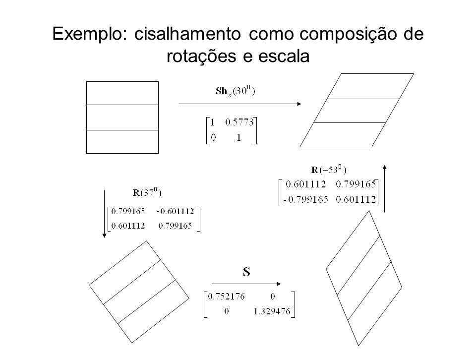 Exemplo: cisalhamento como composição de rotações e escala