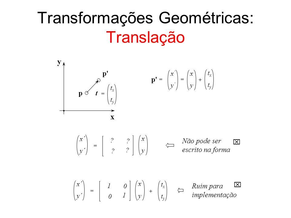Transformações Geométricas: Translação x y p p' txtx tyty t = x y = txtx tyty + = x y x y ? x´ y´ = ? ? ? x y 1 x´ y´ = 0 1 0 txtx tyty + Não pode ser