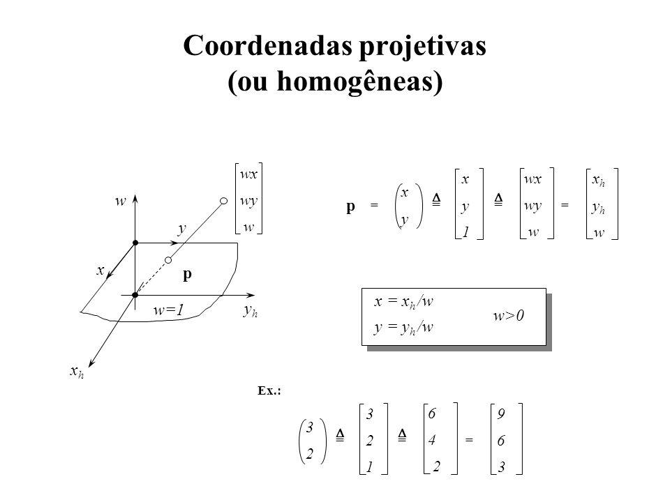 Coordenadas projetivas (ou homogêneas) x y p wx wy w xhxh yhyh w == x y 1 = = yhyh xhxh w w=1 x y wx wy w x = x h /w y = y h /w w>0 Ex.: 3 2 1 3 2 6 4