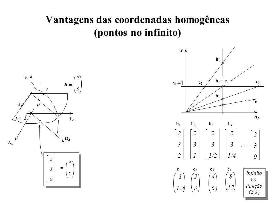 Vantagens das coordenadas homogêneas (pontos no infinito) yhyh xhxh w w=1 x y 2 3 u = u uhuh 2 3 0 = ? ? uhuh w h1h1 c1c1 h 2 = c 2 h3h3 c3c3 2 3 2 2