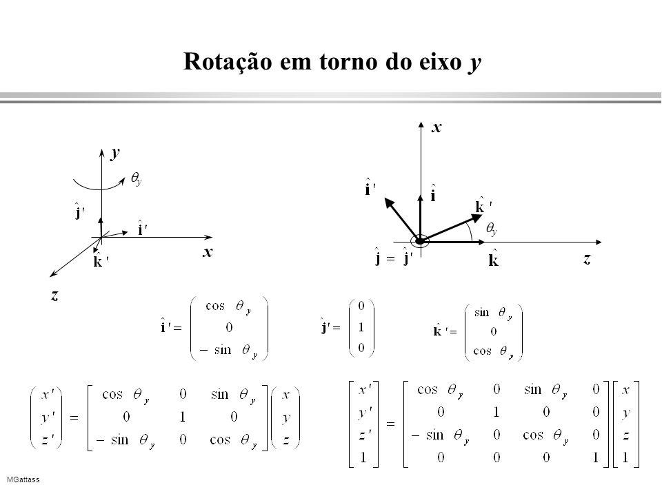 MGattass Rotação em torno do eixo y x y z y z x y