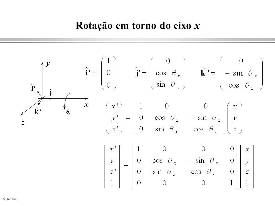 MGattass Rotação em torno do eixo x x y z x