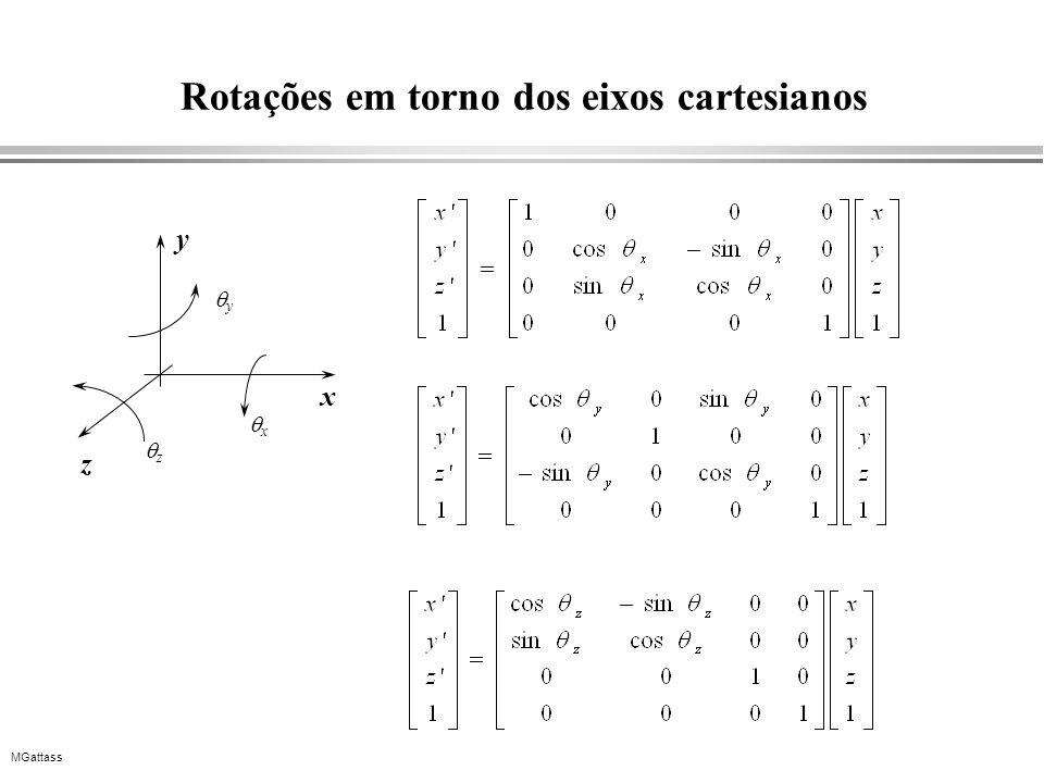 MGattass Rotações em torno dos eixos cartesianos x y z x y z