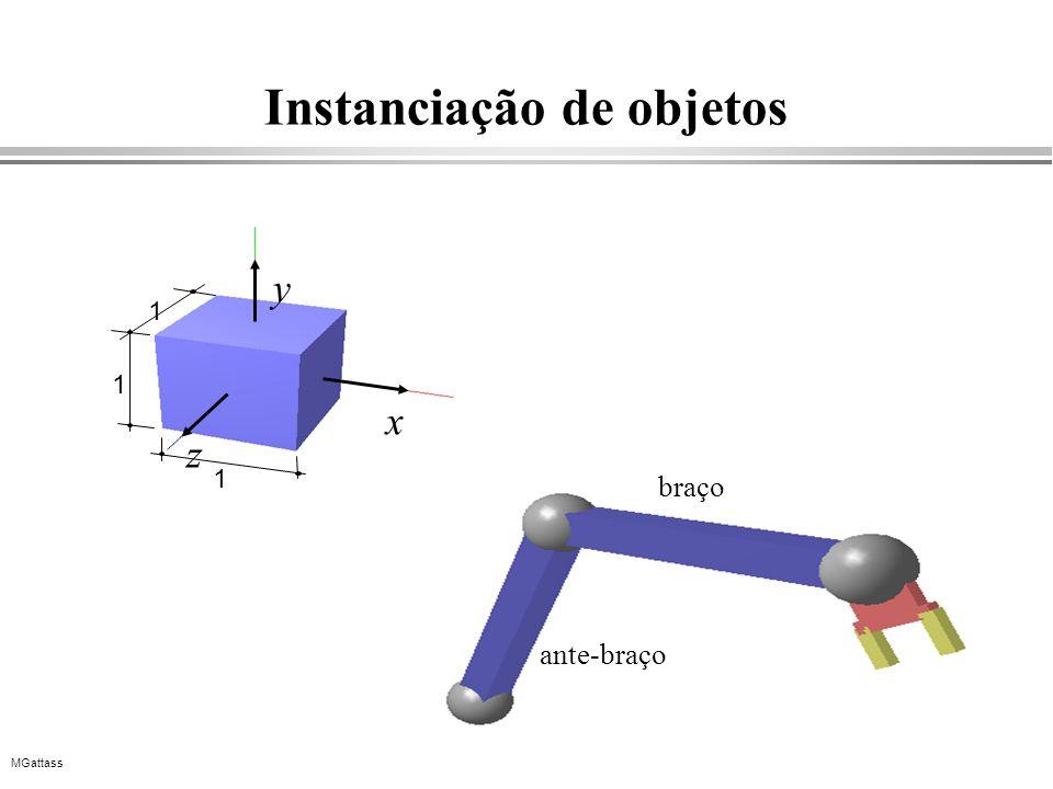 MGattass Instanciação de objetos braço ante-braço x y z 1 1 1