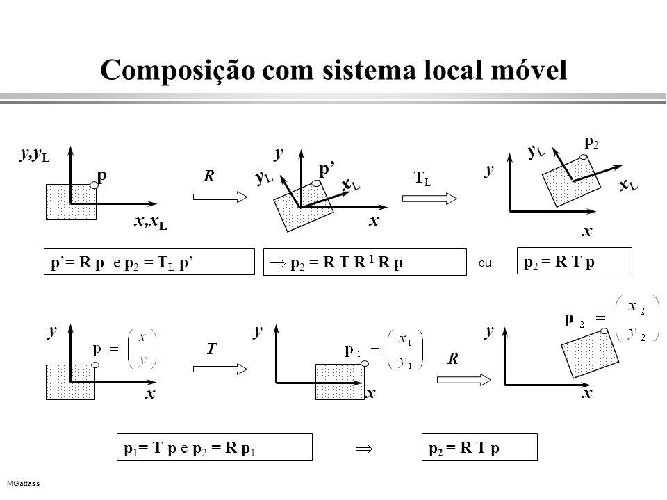 MGattass Composição com sistema local móvel x,x L y,y L xLxL yLyL TLTL x y p 2 = R T pp 1 = T p e p 2 = R p 1 x T R y xx yy p= R p e p 2 = T L p p 2 =