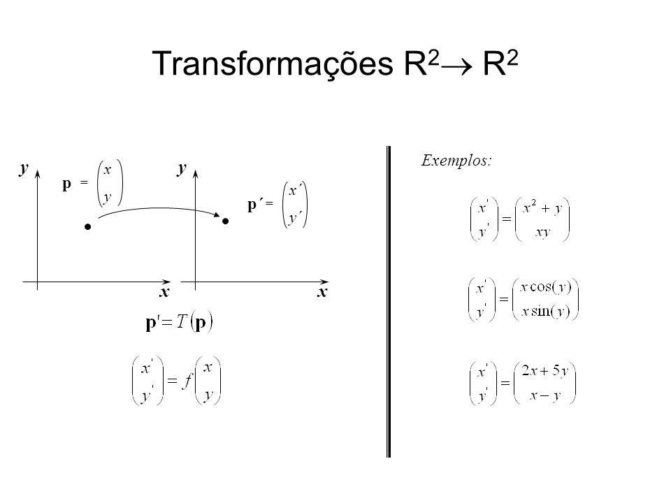 Transformações R 2 R 2 Exemplos: x y x´ y´ p´p´ = x y x y p =