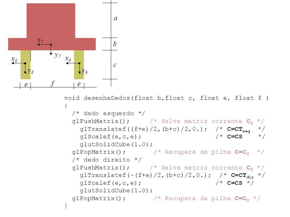 y7y7 y8y8 y9y9 x7x7 x8x8 x9x9 a b c e ef void desenhaDedos(float b,float c, float e, float f ) { /* dedo esquerdo */ glPushMatrix(); /* Salva matriz c