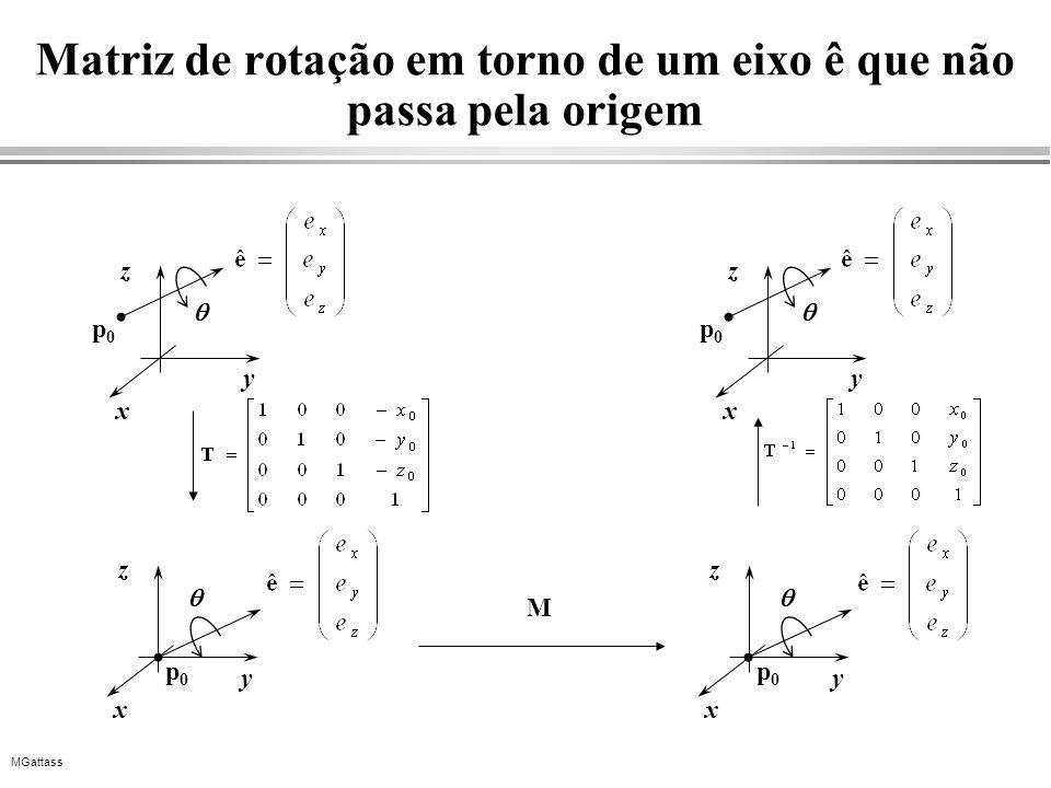 MGattass Matriz de rotação em torno de um eixo ê que não passa pela origem x y z x y z p0p0 p0p0 x y z p0p0 M x y z p0p0