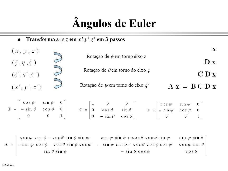 MGattass Ângulos de Euler l Transforma x-y-z em x-y-z em 3 passos Rotação de em torno eixo z Rotação de em torno do eixo