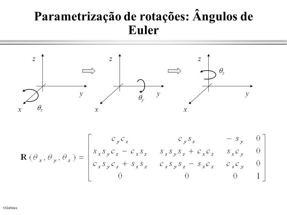 MGattass Parametrização de rotações: Ângulos de Euler x x y z y x y z z x y z
