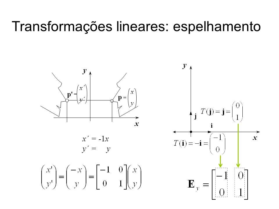 Transformações lineares: espelhamento x´ = -1x y´ = y x y x´ y´ p' = = p x y x y i j