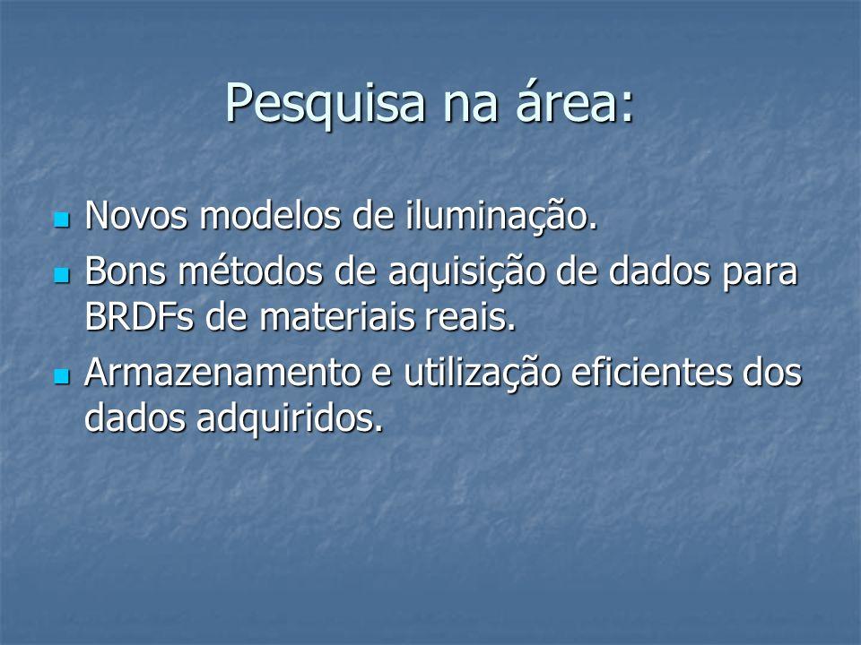 Pesquisa na área: Novos modelos de iluminação. Novos modelos de iluminação. Bons métodos de aquisição de dados para BRDFs de materiais reais. Bons mét