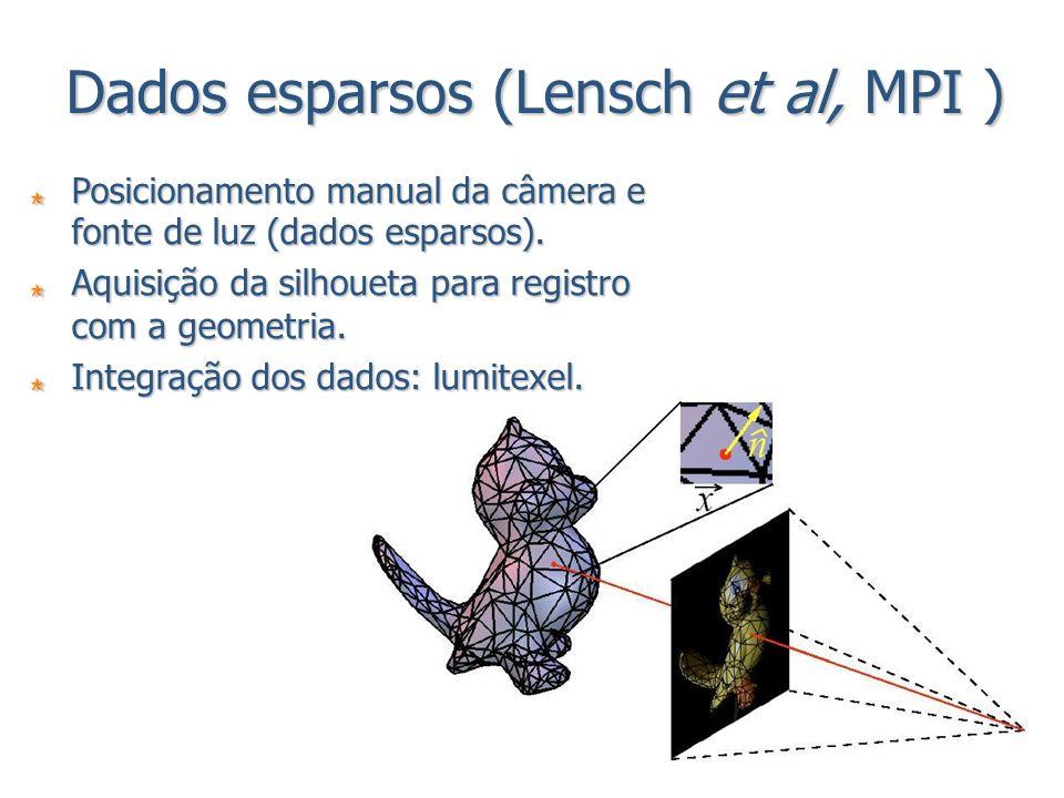 Dados esparsos (Lensch et al, MPI ) Posicionamento manual da câmera e fonte de luz (dados esparsos). Aquisição da silhoueta para registro com a geomet