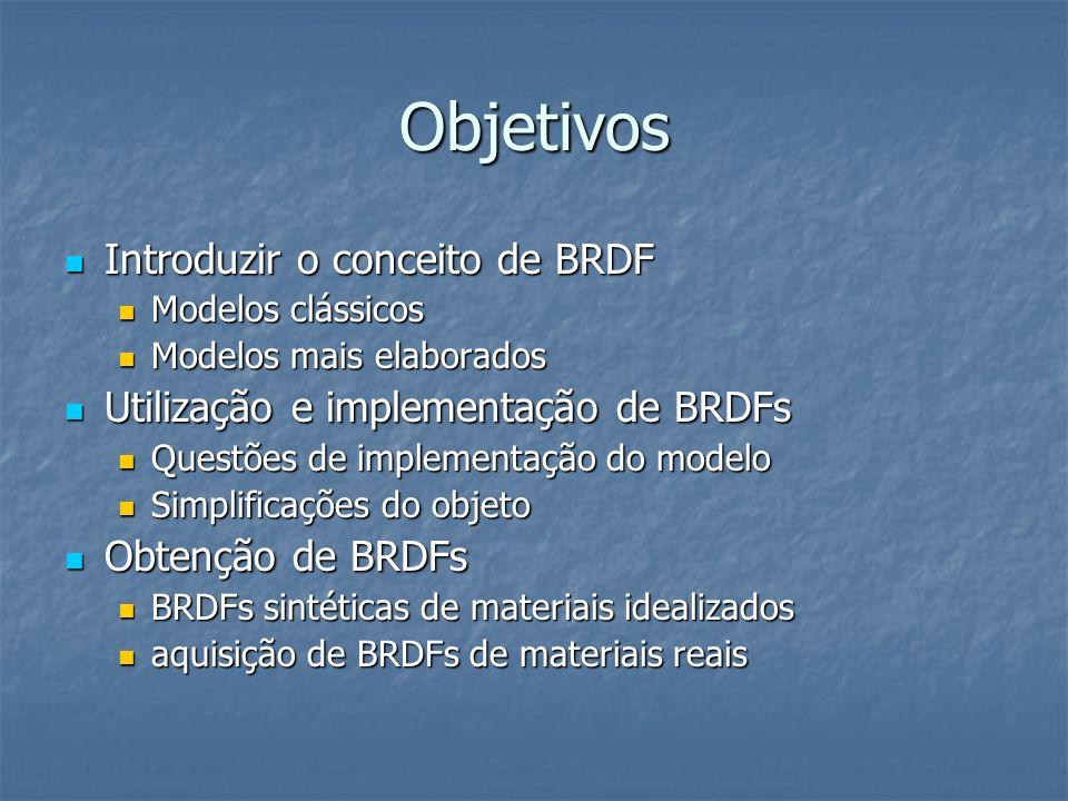 Objetivos Introduzir o conceito de BRDF Introduzir o conceito de BRDF Modelos clássicos Modelos clássicos Modelos mais elaborados Modelos mais elabora