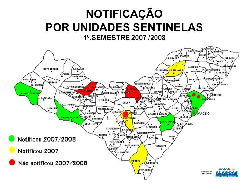 NOTIFICAÇÃO POR UNIDADES SENTINELAS 1º.SEMESTRE 2007 /2008