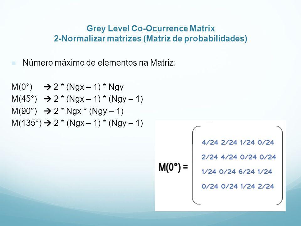 Grey Level Co-Ocurrence Matrix 2-Normalizar matrizes (Matriz de probabilidades) Número máximo de elementos na Matriz: M(0°) 2 * (Ngx – 1) * Ngy M(45°)