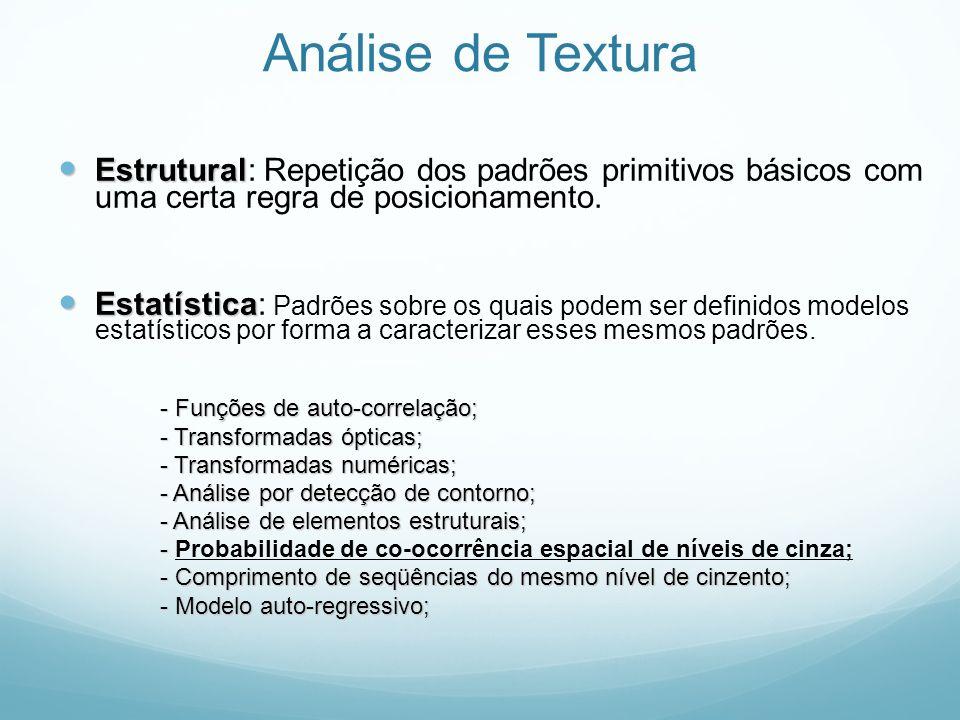 Análise Estatística de Textura A abordagem estatística baseia-se na análise de imagens e extração de suas características através da relação entre os seus níveis de cinza (luminância).