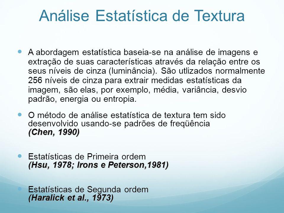 Análise Estatística de Textura A abordagem estatística baseia-se na análise de imagens e extração de suas características através da relação entre os