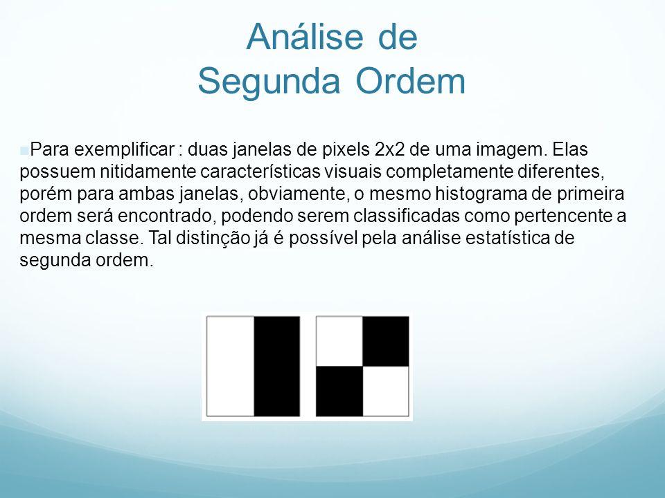 Análise de Segunda Ordem Para exemplificar : duas janelas de pixels 2x2 de uma imagem. Elas possuem nitidamente características visuais completamente