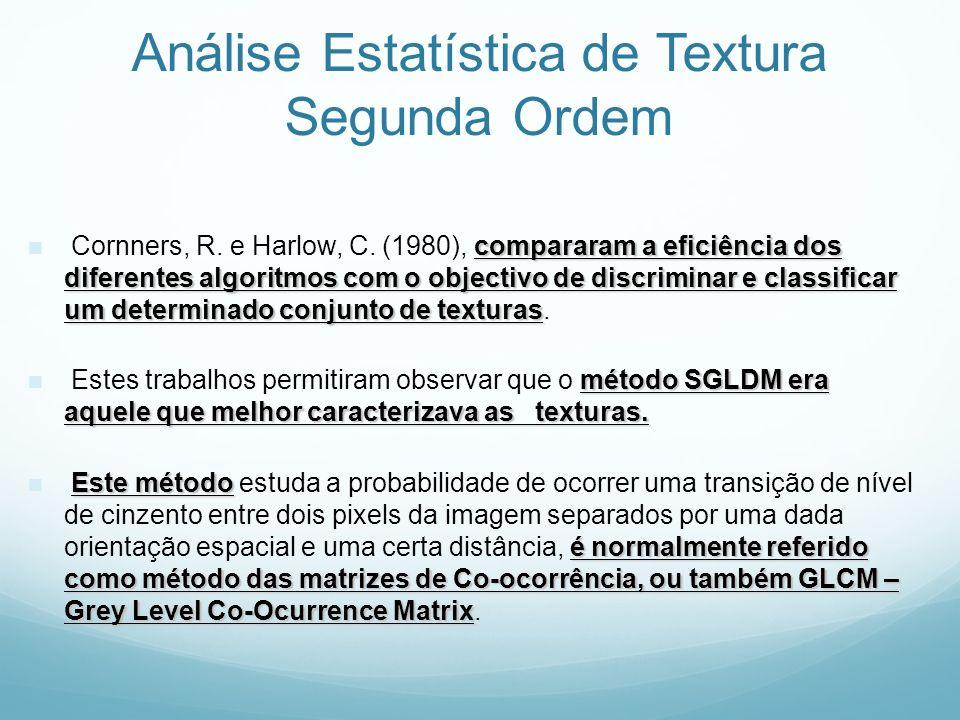 Análise Estatística de Textura Segunda Ordem compararam a eficiência dos diferentes algoritmos com o objectivo de discriminar e classificar um determi