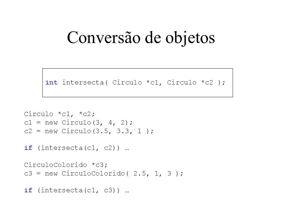 Conversão de objetos int intersecta( Circulo *c1, Circulo *c2 ); Circulo *c1, *c2; c1 = new Circulo(3, 4, 2); c2 = new Circulo(3.5, 3.3, 1 ); if (inte