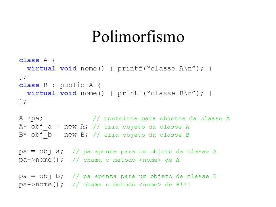 Polimorfismo class A { virtual void nome() { printf(classe A\n); } }; class B : public A { virtual void nome() { printf(classe B\n); } }; A *pa; // po