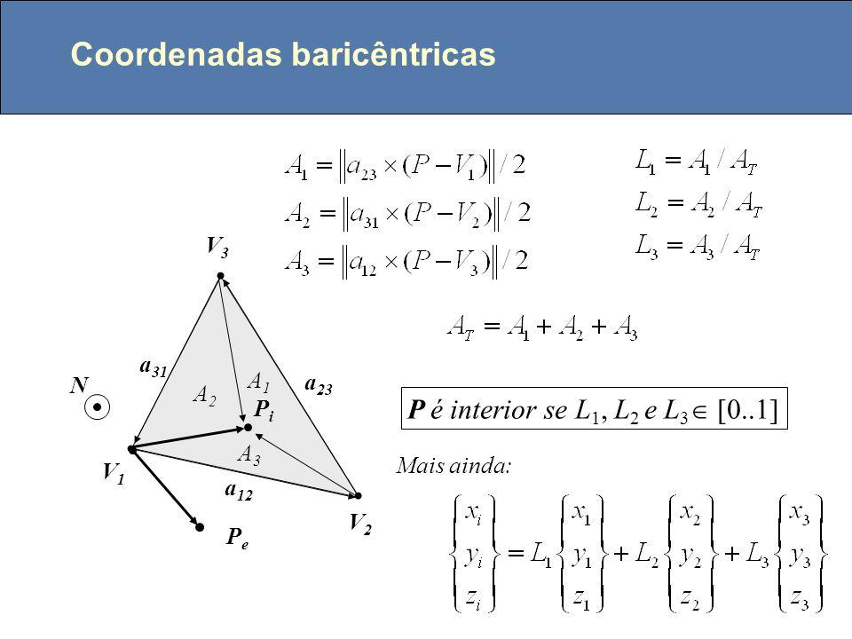 Ponto no interior de um triângulo V1V1 V2V2 V3V3 PiPi PePe a 12 a 23 a 31 N P é interior se t 1, t 2 e t 3 tem o mesmo sentido, ou seja: ou