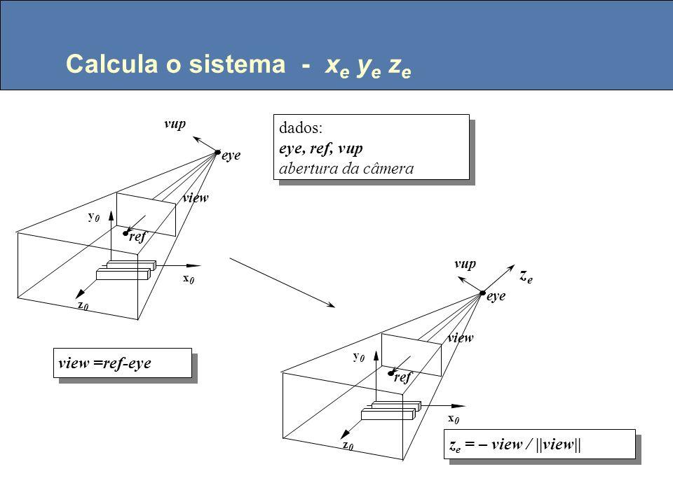 Modelo da câmera Dados: eye, ref, vup (definem o sistema de coordenadas do olho) abertura do campo fixa de 90 0 eye ref vup Coordenadas dos Objetos eye ref 45 o Vista de cima