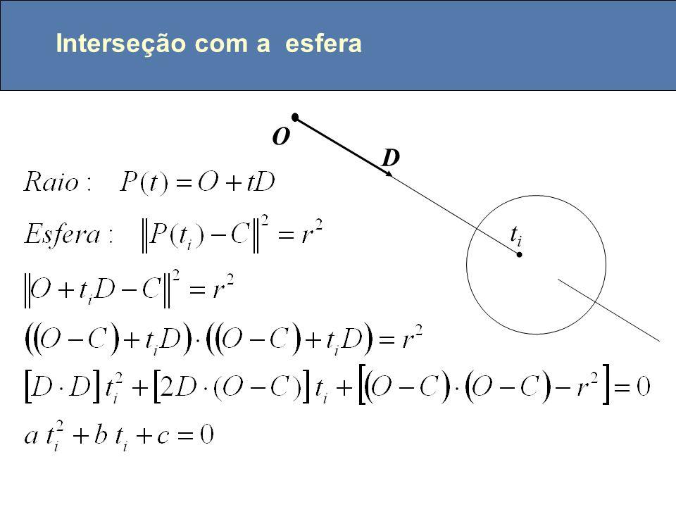 Lançamento de Raios P ll dx = 2 x e / w dy = 2 y e / h P ll dx = 2 x e / w dy = 2 y e / h P0P0 P P 0 = P u + dx/2 + dy/2; for (i=0; i<=w; i++) { P = P 0 ; for (j=0; j<=h; j++) { P = P + dx; trace o raio (eye, P); } P 0 = P 0 + dy; }