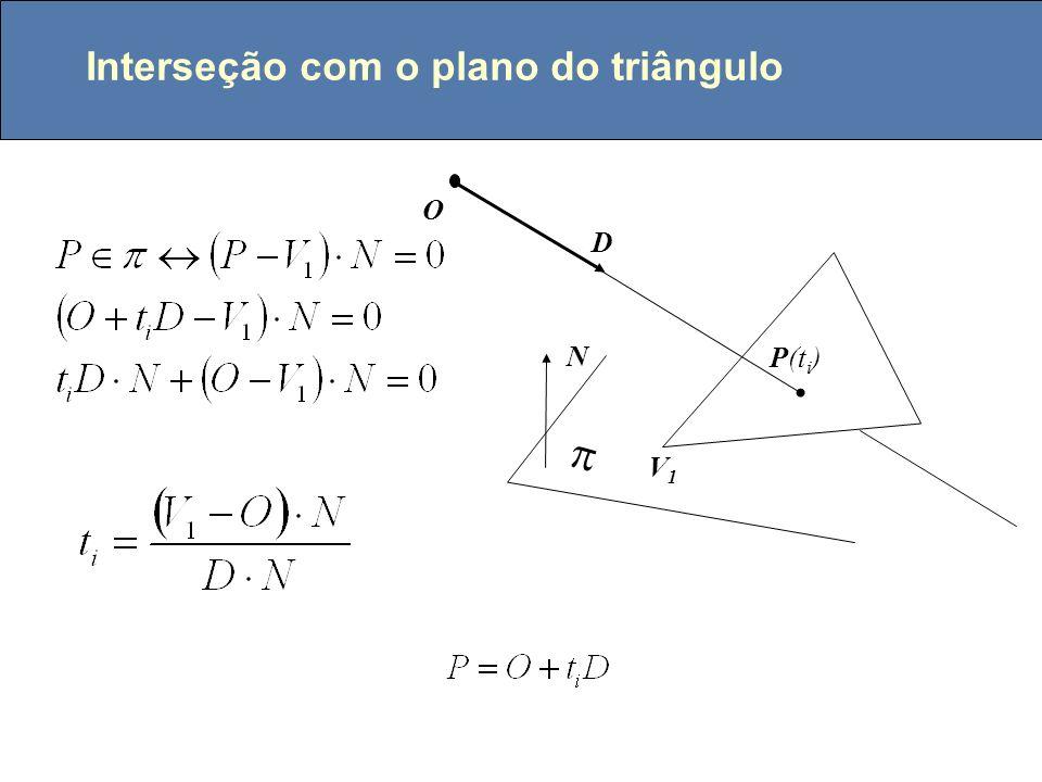 P0P0 P1P1 x = x 0 + t (x 1 - x 0 ) y = y 0 + t (y 1 - y 0 ) z = z 0 + t (z 1 - z 0 ) z x y Ax + By + Cz + D = 0 0 1 3 A0A0 A3A3 A1A1 L 0 = A 0 / A T L 1 = A 1 / A T L 2 = A 2 / A T L i [0,1 ] P é interior se e somente se Raios e objetos descritos pela fronteira