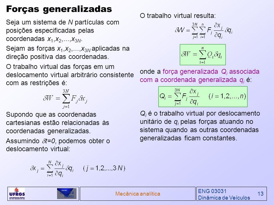 ENG 03031 Dinâmica de Veículos Mecânica analítica13 Seja um sistema de N partículas com posições especificadas pelas coordenadas x 1,x 2,...,x 3N. Sej