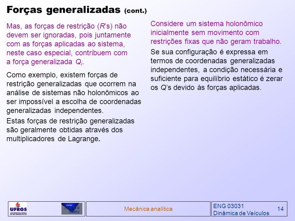 ENG 03031 Dinâmica de Veículos Mecânica analítica14 Forças generalizadas (cont.) Mas, as forças de restrição (Rs) não devem ser ignoradas, pois juntam