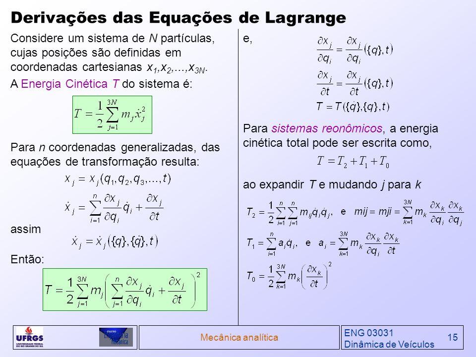 ENG 03031 Dinâmica de Veículos Mecânica analítica15 Derivações das Equações de Lagrange Para n coordenadas generalizadas, das equações de transformaçã
