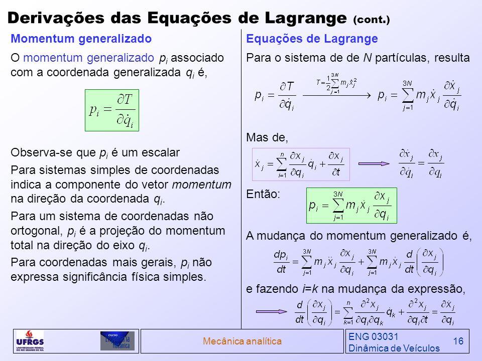 ENG 03031 Dinâmica de Veículos Mecânica analítica16 Derivações das Equações de Lagrange (cont.) Observa-se que p i é um escalar Para sistemas simples