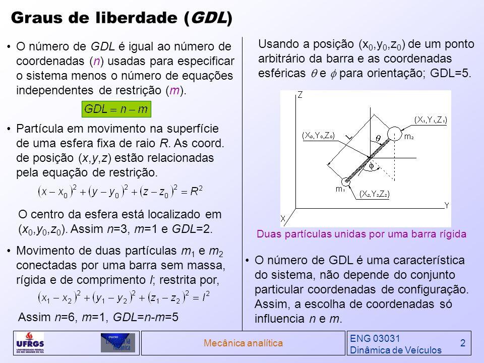 ENG 03031 Dinâmica de Veículos Mecânica analítica2 Graus de liberdade (GDL) O número de GDL é igual ao número de coordenadas (n) usadas para especific