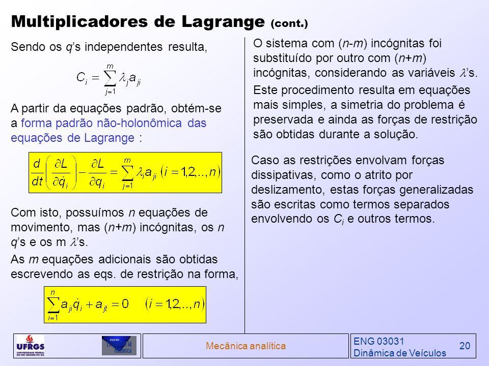 ENG 03031 Dinâmica de Veículos Mecânica analítica20 Multiplicadores de Lagrange (cont.) A partir da equações padrão, obtém-se a forma padrão não-holon