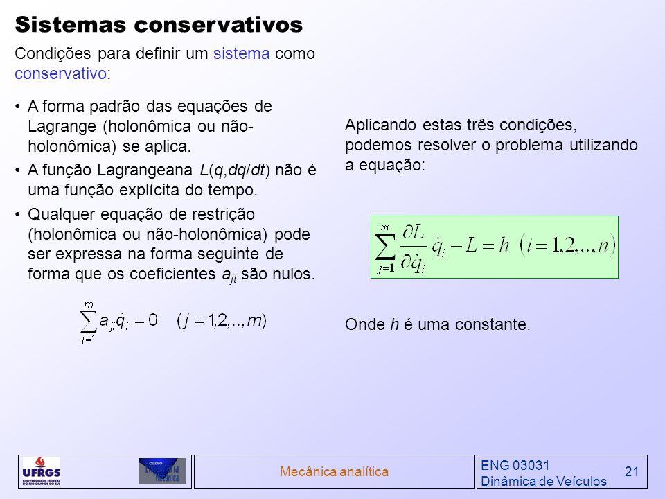 ENG 03031 Dinâmica de Veículos Mecânica analítica21 Sistemas conservativos Condições para definir um sistema como conservativo: A forma padrão das equ