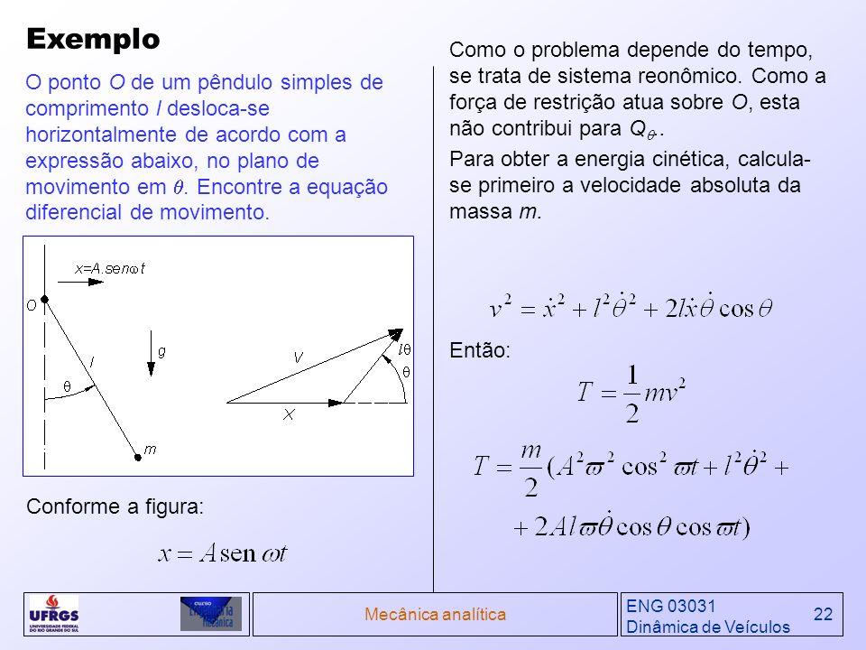 ENG 03031 Dinâmica de Veículos Mecânica analítica22 Exemplo O ponto O de um pêndulo simples de comprimento l desloca-se horizontalmente de acordo com