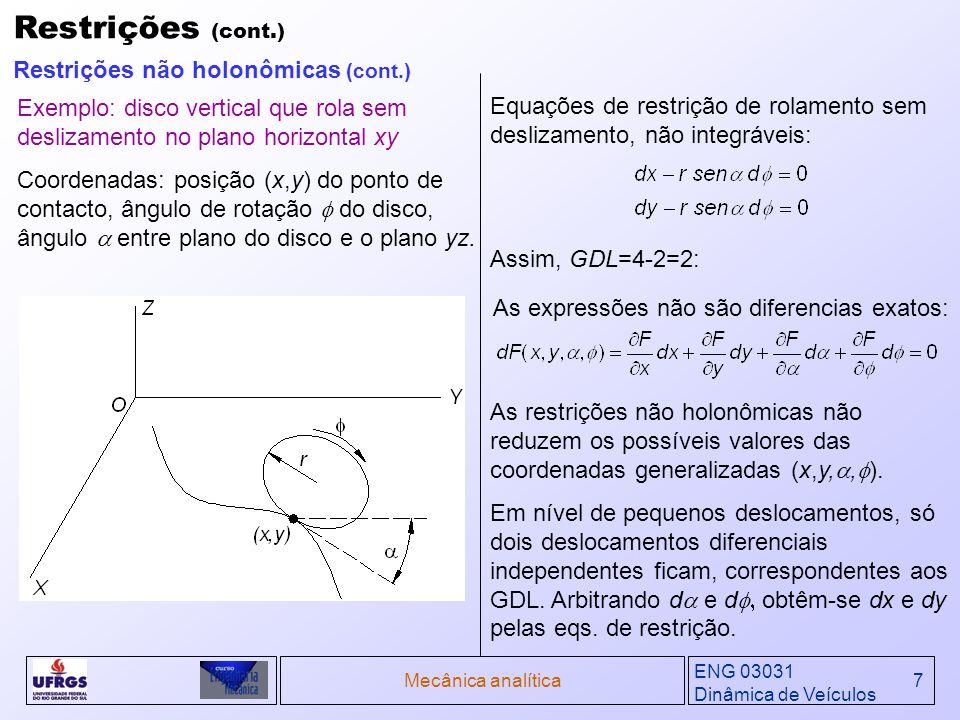 ENG 03031 Dinâmica de Veículos Mecânica analítica18 Outra forma de das equações de Lagrange pode ser obtida para sistemas em que todos os Qs são deriváveis de uma função potencial V=V(q,t): Definindo a função Lagrangiana L: Substituindo as duas expressões acima na forma fundamental das equações de Lagrange, encontramos a forma padrão das equações de Lagrange: Quando as forças generalizadas do sistema não são completamente deriváveis de uma função potencial, a equação será igual a estas forças generalizadas, representadas por Q i: Derivações das Equações de Lagrange (cont.) Equações de Lagrange (cont.) Exemplos típicos de Q i são as forças de atrito, funções de força variável no tempo e forças de restrições não holonômicas.