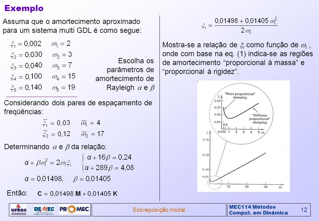 MEC114 Métodos Comput. em Dinâmica DEPARTAMENTO DE ENGENHARIA MECÂNICA Sobreposição modal12 Assuma que o amortecimento aproximado para um sistema mult