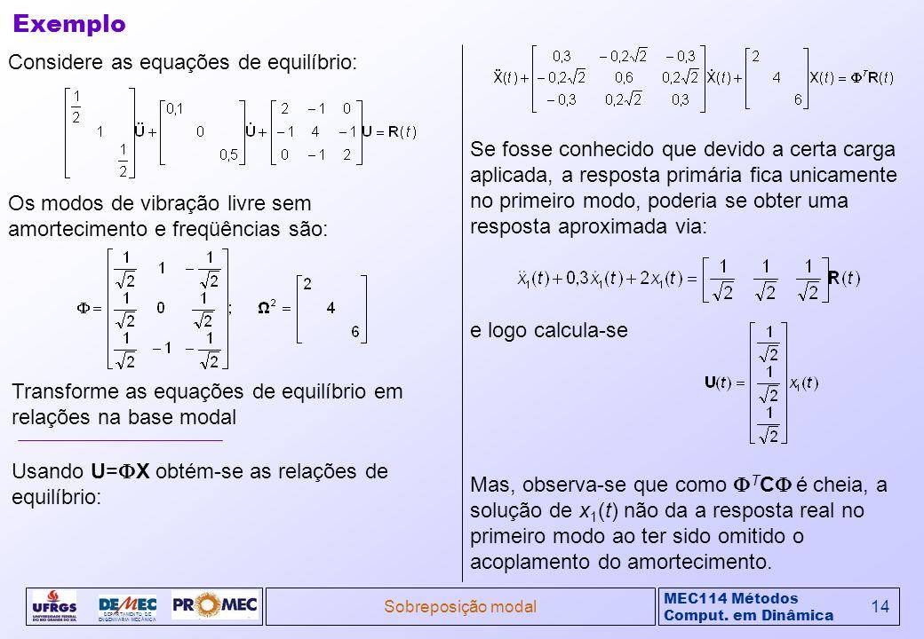 MEC114 Métodos Comput. em Dinâmica DEPARTAMENTO DE ENGENHARIA MECÂNICA Sobreposição modal14 Considere as equações de equilíbrio: Exemplo Os modos de v