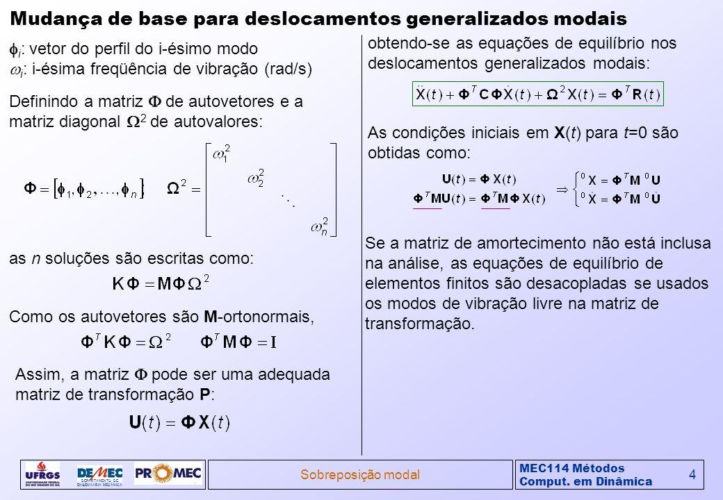 MEC114 Métodos Comput. em Dinâmica DEPARTAMENTO DE ENGENHARIA MECÂNICA Sobreposição modal4 Mudança de base para deslocamentos generalizados modais i :