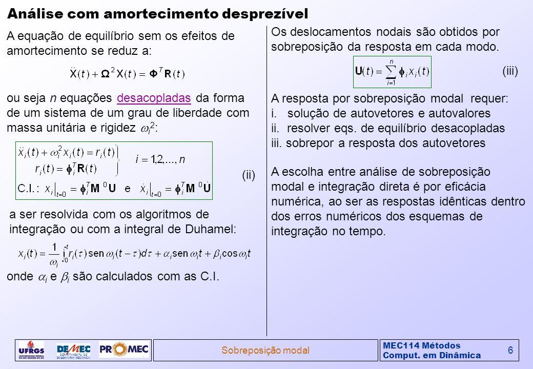 MEC114 Métodos Comput. em Dinâmica DEPARTAMENTO DE ENGENHARIA MECÂNICA Sobreposição modal6 Análise com amortecimento desprezível A equação de equilíbr