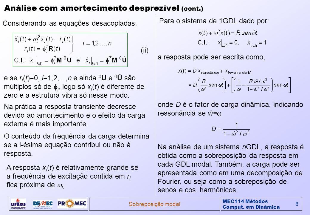 MEC114 Métodos Comput. em Dinâmica DEPARTAMENTO DE ENGENHARIA MECÂNICA Sobreposição modal8 Análise com amortecimento desprezível (cont.) (ii) Consider