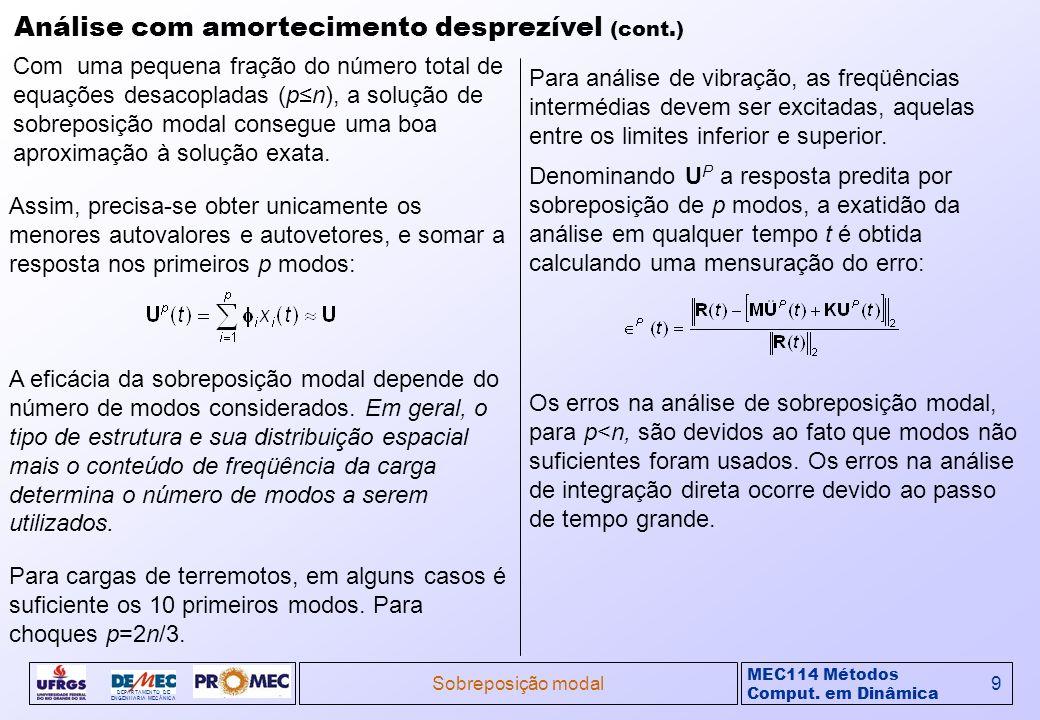 MEC114 Métodos Comput. em Dinâmica DEPARTAMENTO DE ENGENHARIA MECÂNICA Sobreposição modal9 Análise com amortecimento desprezível (cont.) Com uma peque